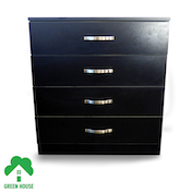 Wooden Chest of Drawers, Bedside Cabinet Bedroom Furniture Green House 4 Drawer Chest Black