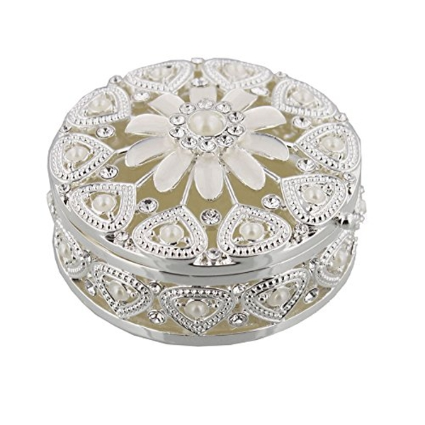 Sophia Silverplated & Pearl Trinket Box - Floral