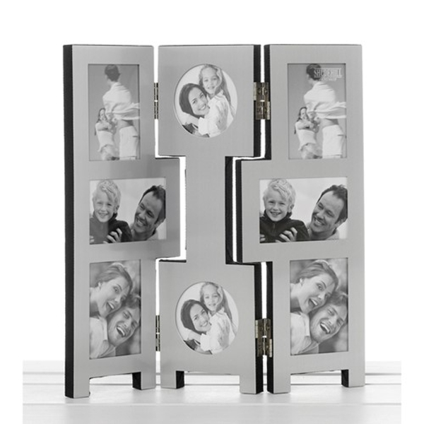 8 Picture Silver Folding Frame