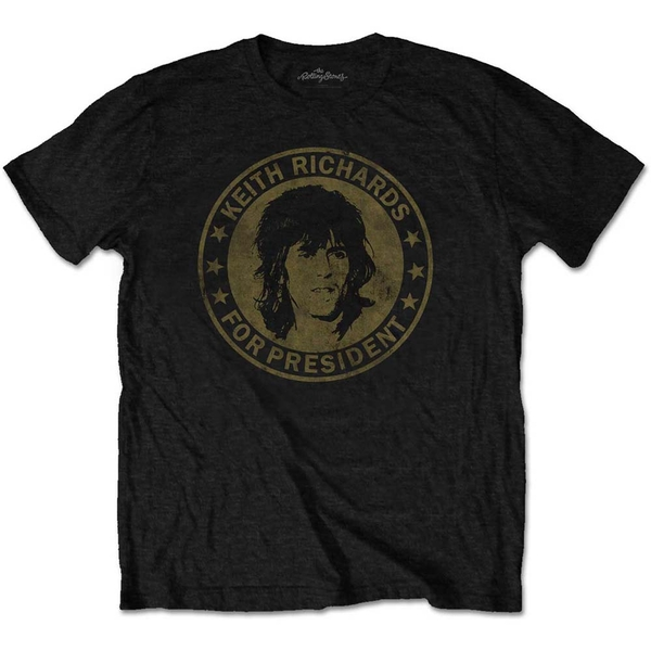 The Rolling Stones - Keith for President Unisex Large T-Shirt - Black (Retail Pack)