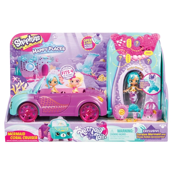 Shopkins Happy Places Mermaid Tails Coral Cruiser Playset!!!