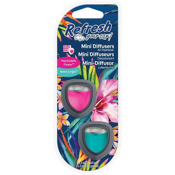 Psychic Flower/Neon Jungle (Pack Of 4) Refresh Mini Diffuser