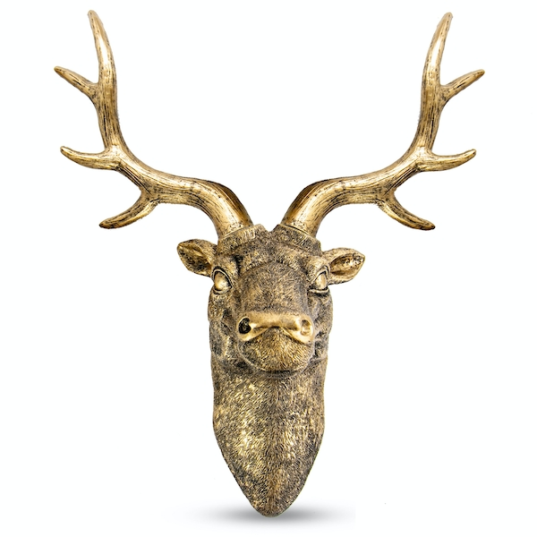 Stag Deer Head Wall Sculpture | M&W Gold