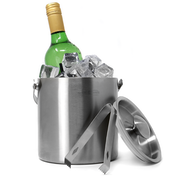 2L Ice Bucket | Insulated Double Walled Drink Cooler | Stainless Steel Party Drink Chiller | Includes Tongs & Lid | M&W