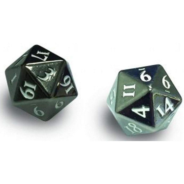 Ultra Pro Heavy Metal D20 2 Dice Set: Gun Metal With White Numbers