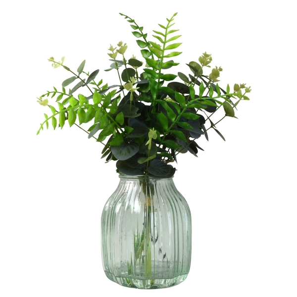 Faux Greenery in Pale Green Coloured Ribbed Glass Vase