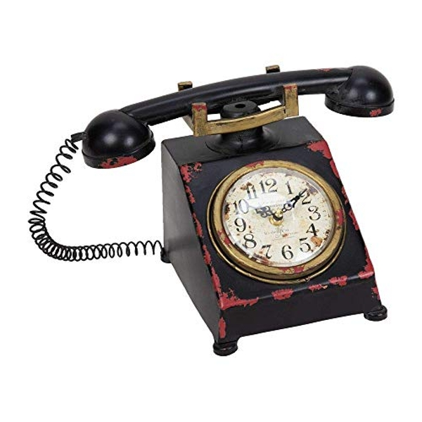 Hometime Metal Mantel Clock - Old Fashioned Telephone 19cm