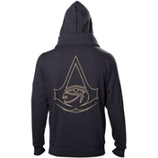 Assassin's Creed Origins - Gold Crest Logo Men's X-Large Full Length Zipper Hoodie - Black