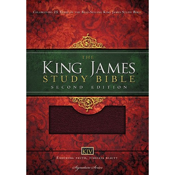 KJV Study Bible, Large Print, Bonded Leather, Burgundy, Red Letter Edition Second Edition Leather / fine binding 2013