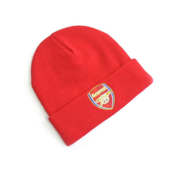 Arsenal Crest Knitted Turn Up Hat Red