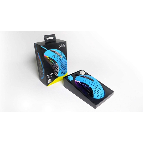Image of Xtrfy M4 RGB Wired Optical Gaming Mouse, USB, 400-16000 DPI, Omron Switches, 125-1000 Hz, Adjustable RGB, Blue