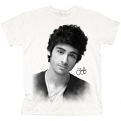 One Direction Zayn Solo B&W Ladies White T Shirt: Large