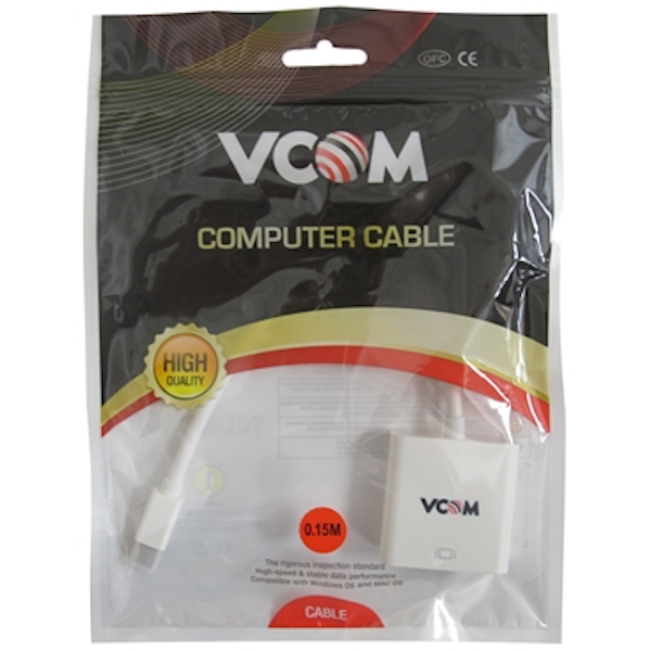 Image of VCOM Mini DisplayPort (M) to HDMI (F) White Retail Packaged Display Adapter