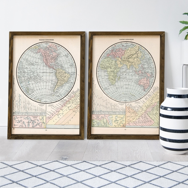 Map079 Multicolor Decorative Framed MDF Painting