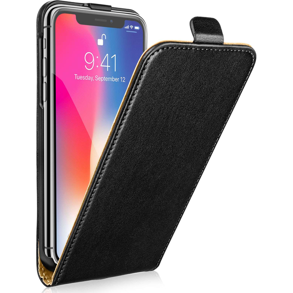 Apple iPhone X Leather Flip Case - Black