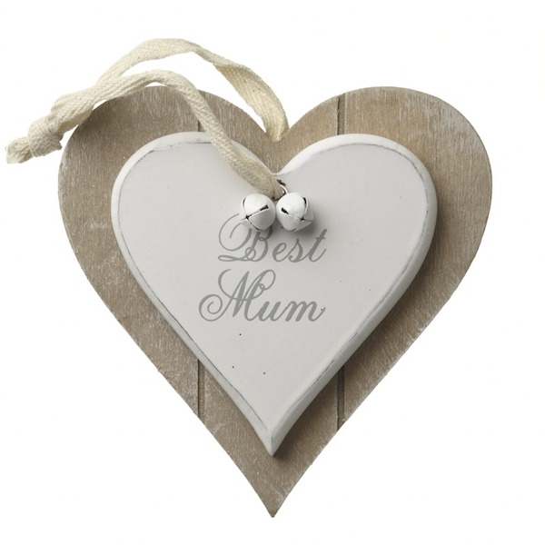 Hanging Wooden Heart Best Mum by Heaven Sends