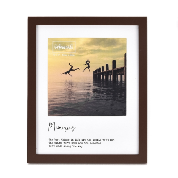"""Moments Wooden Photo Frame with Mount 6"""" x 6"""" - Memories"""