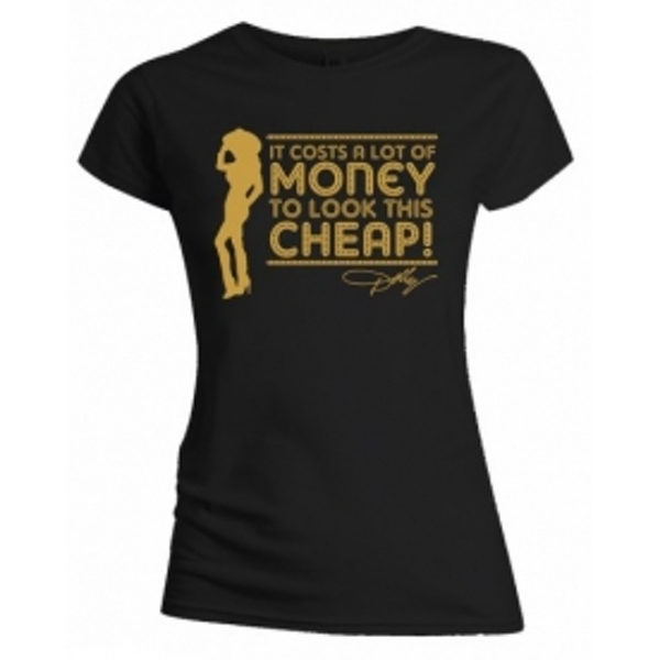 Dolly Parton Lot of Money Ladies Black T Shirt: Small