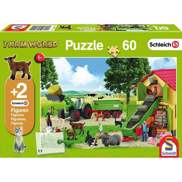 Schleich: Hay Harvest on the Farm 60 Piece Jigsaw Puzzle + Two Figures