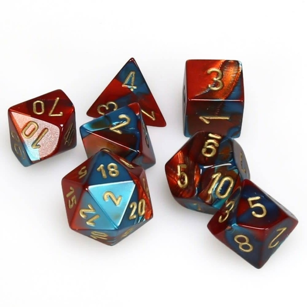 Chessex Gemini Poly 7 Dice Set: Red-Teal/Gold