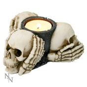 Three Wise Skulls Tealight Holder
