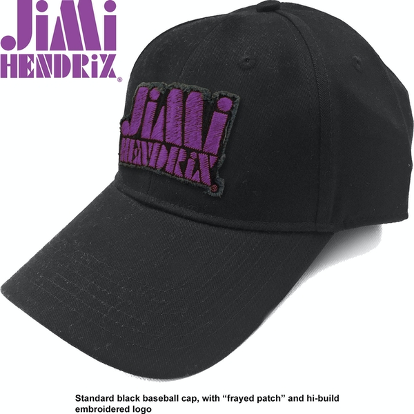 Jimi Hendrix - Purple Stencil Logo Men's Baseball Cap - Black