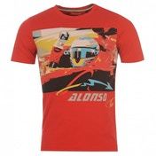 Ferrari Alonso Logo Car T-Shirt Large Red