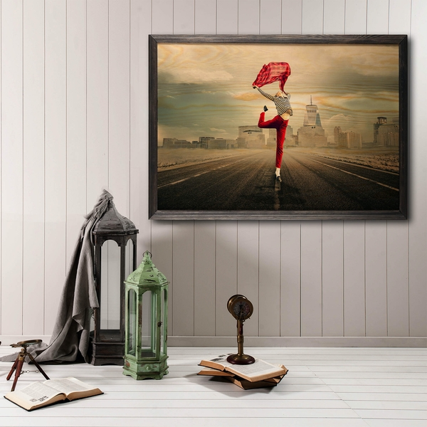 Red Umbrella Multicolor Decorative Framed Wooden Painting