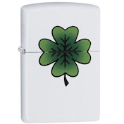 Zippo Clover Design White Matte Windproof Lighter