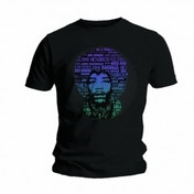 Jimi Hendrix Afro Speech Mens Black T Shirt: X Large
