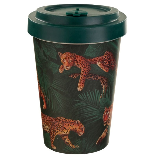 Spots & Stripes Big Cat Reusable Screw Top Bamboo Composite Travel Mug