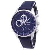 Mens Chronograph Quartz Stainless Steel Watch with Blue Dial & Leather Belt