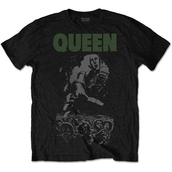 Queen - News of the World 40th Full Cover Unisex Large T-Shirt - Black