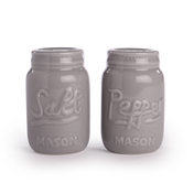 Ceramic Vintage Mason Jar Salt & Pepper Shakers | M&W Grey
