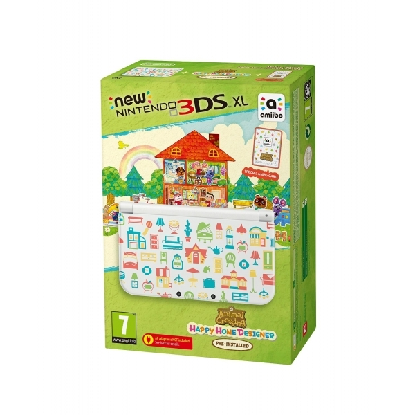 New 3DS XL Animal Crossing Happy Home Designer Console + Amiibo Card