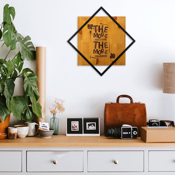 The More You Learn Walnut Black Decorative Wooden Wall Accessory