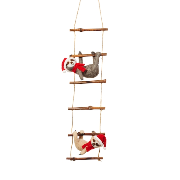 Sass & Belle Sloths on Ladder Felt Decoration