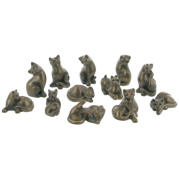 Set of 12 Cold Bronze Cats Sculptures 4cm