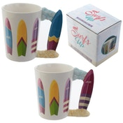 Fun Beach Themed Surf Board Shaped Handle Ceramic Mug (1 Random Supplied)