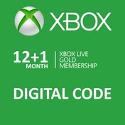 Xbox Live Gold 12 + 1 Month Membership Card Xbox 360 and Xbox One Digital Download