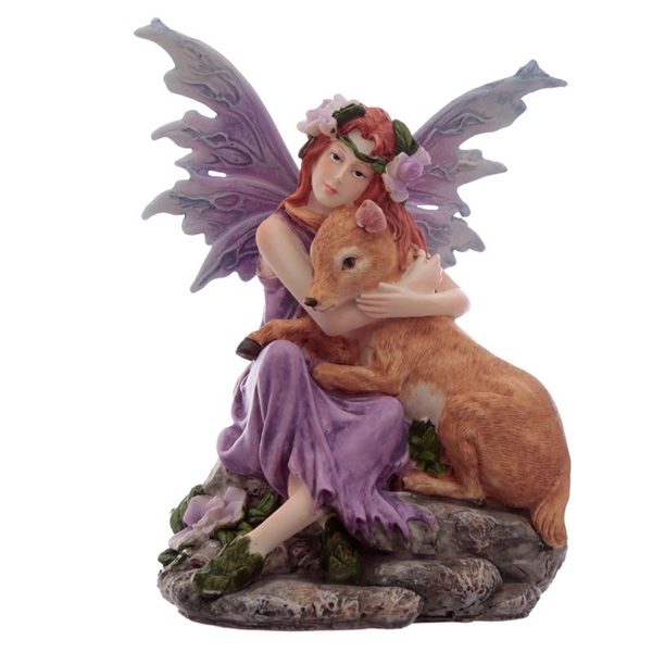 Amethyst Flower Fairy with Fawn