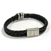 Liverpool Leather Double Plait Stainless Steel Boxed Bracelet