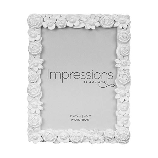 """6"""" x 8"""" - Impressions White Resin Floral Photo Frame"""