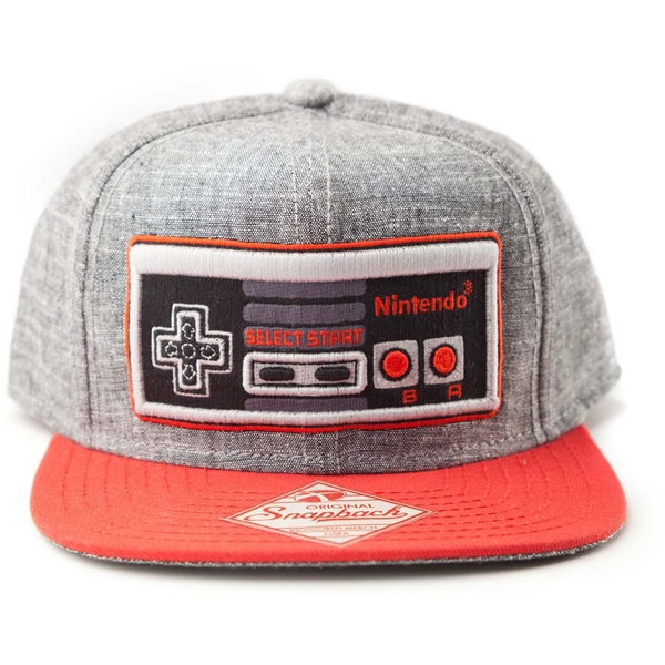 Nintendo - Embroidered Nes Controller Unisex One Size Cap - Grey/Red