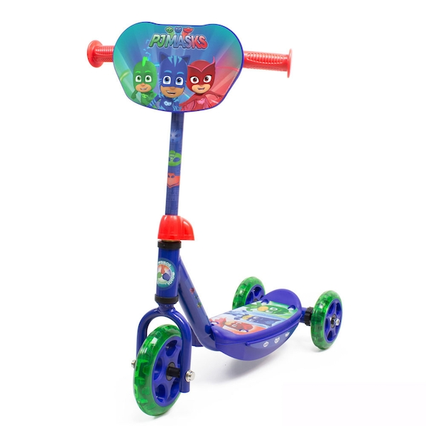 Pjmasks - Kid's Three Wheel Tri Scooter with Adjustable Handlebar and Front Plate