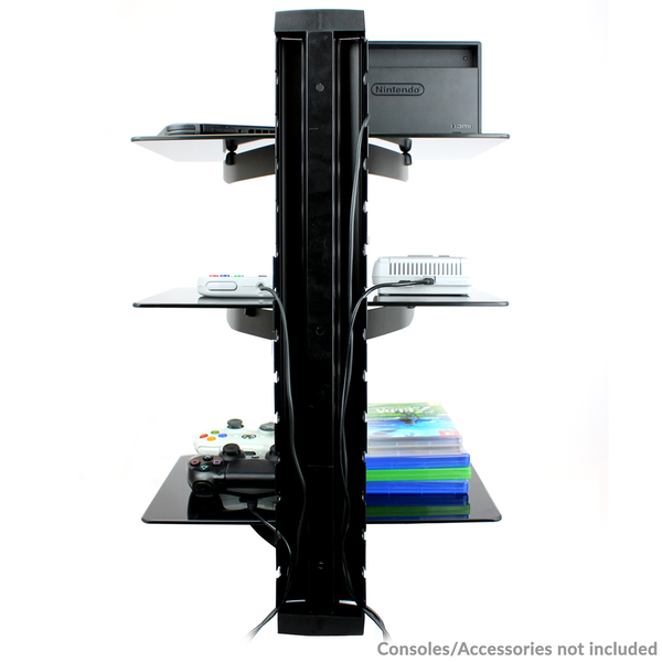 Tempered Black Glass Floating Shelf Wall Mount Consoles/DVD players M&W 3 Tier - Image 4
