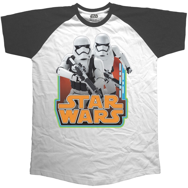 Star Wars - Classic Troopers & Logo Unisex X-Large T-Shirt - Black,White