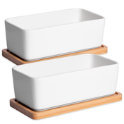 Ceramic Planter & Bamboo Base | M&W 2 x Rectangular