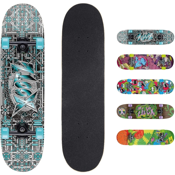 Xootz Kids Complete Beginners Double Kick Trick Skateboard Maple Deck - 31 x 8 Inches Industrial