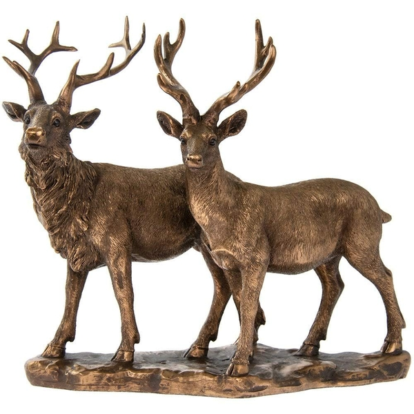 Reflections Bronzed Stag & Deer Figurine By Lesser & Pavey